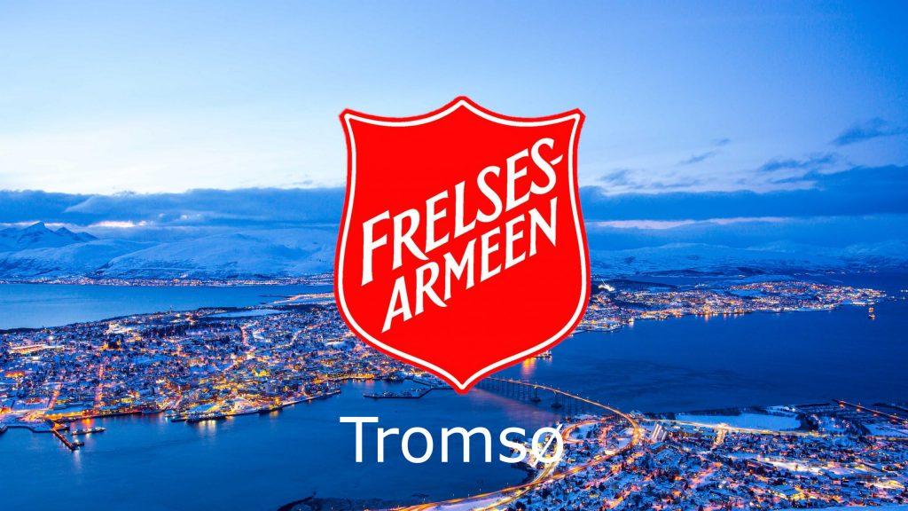Frelsesarmeen Tromsø sin logo foran et bilde av Tromsø by på vinterstid