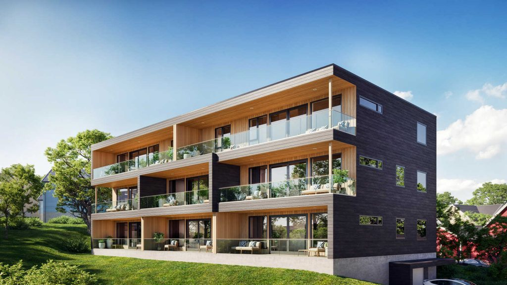 Bilde av blokka Idrettsveien 2 på Finnsnes som bygges av Bygg i Nord Gruppen